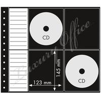 Sheet with 8 CD pockets, 3 layers, black middle layer, pack of 10